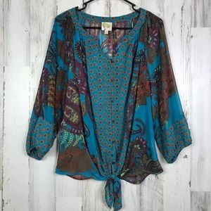 Fig and Flower Anthropologie Teal Paisley Blouse